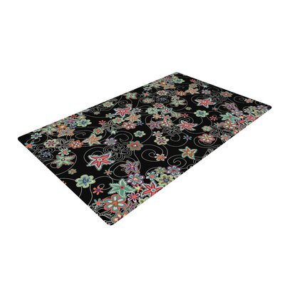Julia Grifol My Small Flowers Floral Black Area Rug Rug Size: 4 x 6
