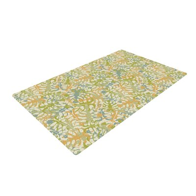 Julia Grifol Warm Tropical Leaves Green/Orange Area Rug Rug Size: 2 x 3
