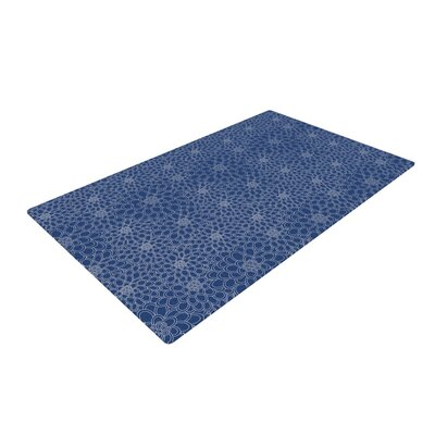 Julia Grifol Flowers Navy/White Area Rug Rug Size: 4 x 6