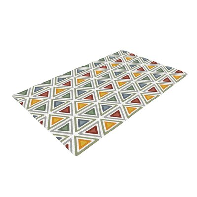 Julia Grifol Ikat Triangles Green/Orange Area Rug Rug Size: 4 x 6