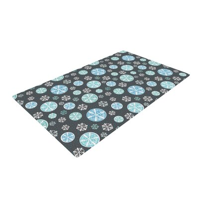 Julie Hamilton Midnight Snow Winter Black/Green Area Rug Rug Size: 2 x 3