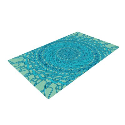 Patternmuse Mandala Spin Green/Blue Area Rug Rug Size: 2 x 3