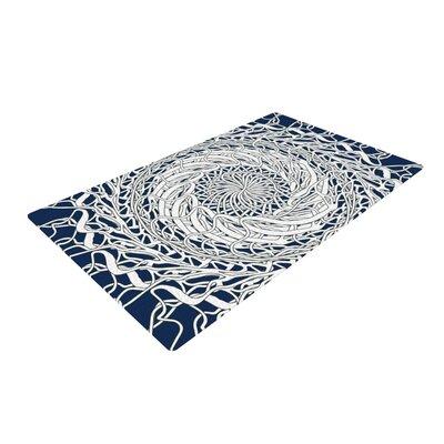 Patternmuse Mandala Spin Blue/White Area Rug Rug Size: 4 x 6