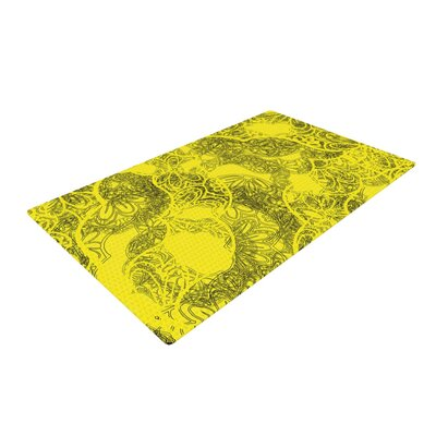 Patternmuse Mandala Lemon Yellow Area Rug Rug Size: 4 x 6