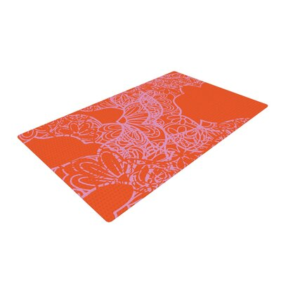 Patternmuse Mandala Pumpkin Orange/Pink Area Rug Rug Size: 4 x 6