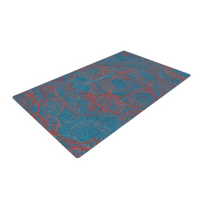 Patternmuse Mandala Red/Blue Area Rug Rug Size: 2 x 3