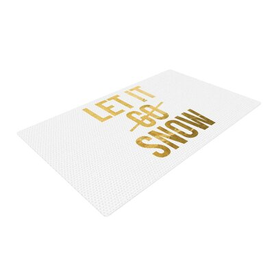 Let it Snow Typography Yellow/White Area Rug