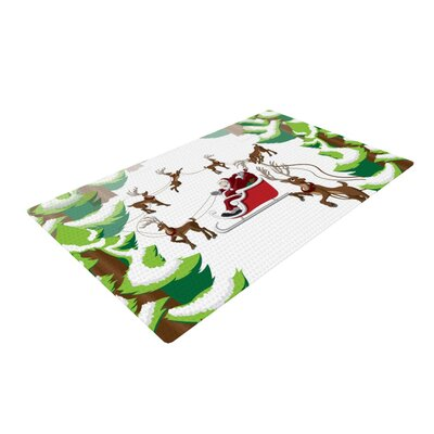 Forest Sleigh Scene Holiday Illustration Green/Red Area Rug