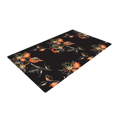 Louise Flower Black/Orange Area Rug Rug Size: 4 x 6