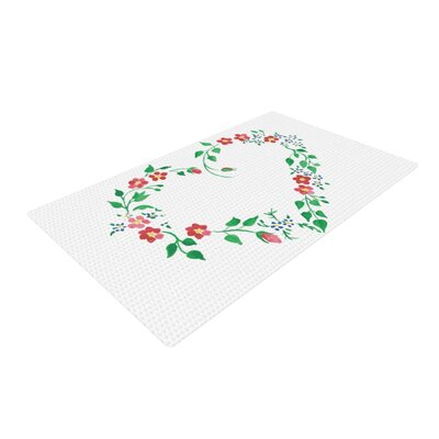 Louise Heart Green/White Area Rug Rug Size: 2 x 3