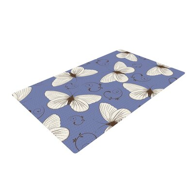 Louise Butterflies Blue Area Rug Rug Size: 2 x 3