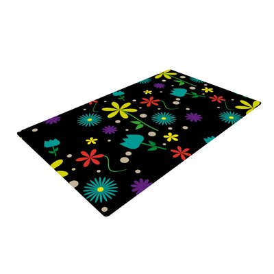 Louise Flower I Black Area Rug Rug Size: 4 x 6