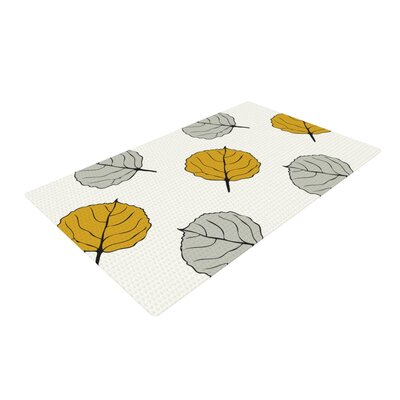 Laurie Baars Quaking Leaf White/Gray Area Rug Rug Size: 4 x 6