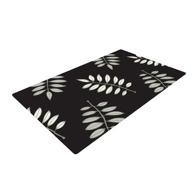 Laurie Baars Pagoda Leaf Floral Illustration Black Area Rug Rug Size: 2 x 3