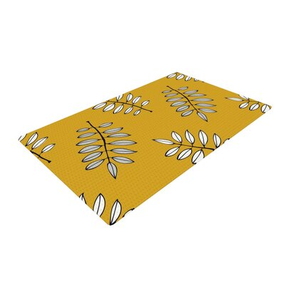 Laurie Baars Pagoda Leaf White/Orange Area Rug Rug Size: 4 x 6
