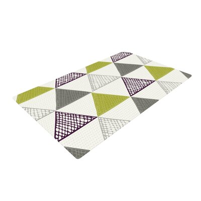 Laurie Baars Textured Triangles Gray/Green Area Rug Rug Size: 2 x 3