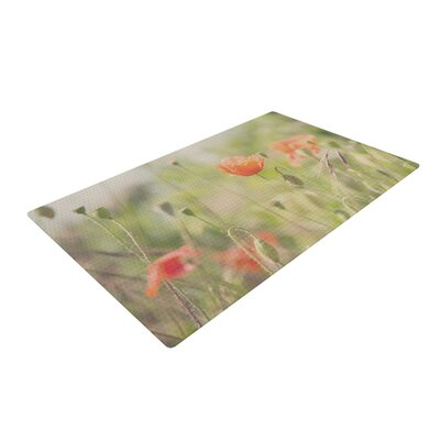 Laura Evans Fields of Remembrance Green/Orange Area Rug Rug Size: 4 x 6