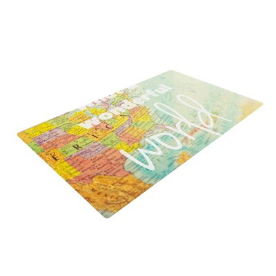 Libertad Leal What a Wonderful World Map Yellow Area Rug Rug Size: 4 x 6