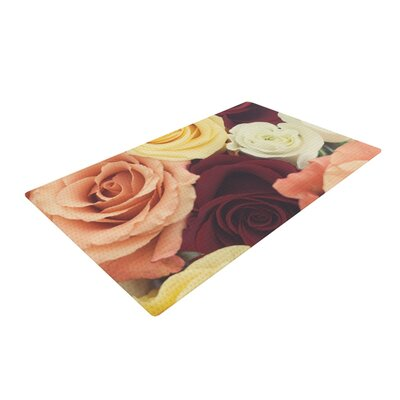 Libertad Leal Vintage Roses Red/Yellow Area Rug Rug Size: 4 x 6