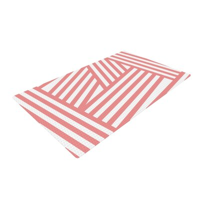 Louise Machado Rose Stripes Pink/White Area Rug Rug Size: 4 x 6