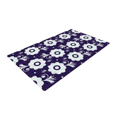 Louise Machado Flower Purple/White Area Rug Rug Size: 4 x 6