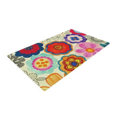 Louise Machado Charming Floral Blue/Red Area Rug Rug Size: 2 x 3