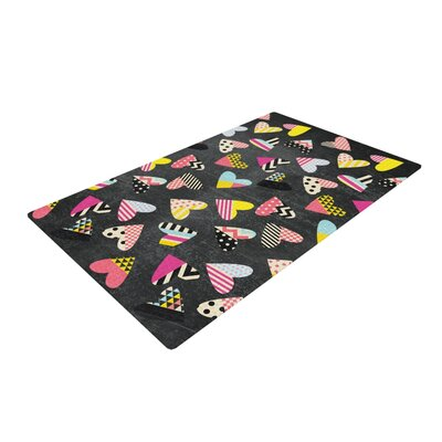 Louise Machado Pieces of Heart Pink/Yellow Area Rug Rug Size: 2 x 3