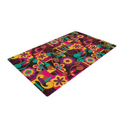 Louise Machado Arabesque Floral Bright Colorful Pink/Yellow Area Rug Rug Size: 2 x 3
