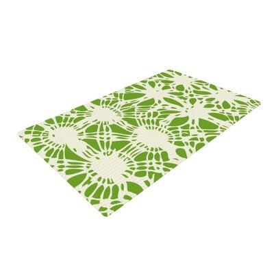 Laura Nicholson Drawnwork Green/White Area Rug Rug Size: 4 x 6