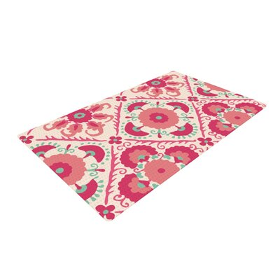 Laura Nicholson Bukhara Floral Coral/Pink Area Rug Rug Size: 2 x 3