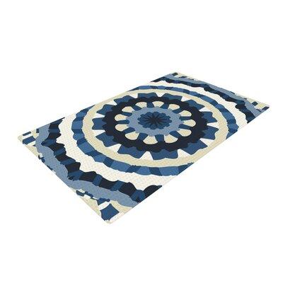 Laura Nicholson Ribbon Mandala Navy/Tan Area Rug Rug Size: 4 x 6