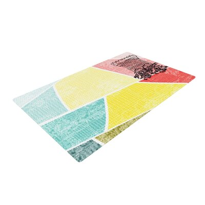 MaJoBV Boys Rock Cars Yellow/Teal Area Rug Rug Size: 4 x 6