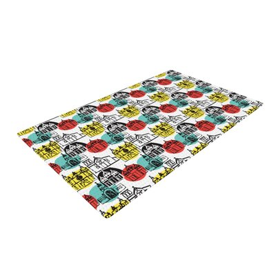 MaJoBV Cartagena Churches Polkadot Teal/Red Area Rug Rug Size: 2 x 3