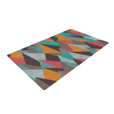 Michelle Drew Mountain Peaks I Orange/Teal Area Rug Rug Size: 4 x 6