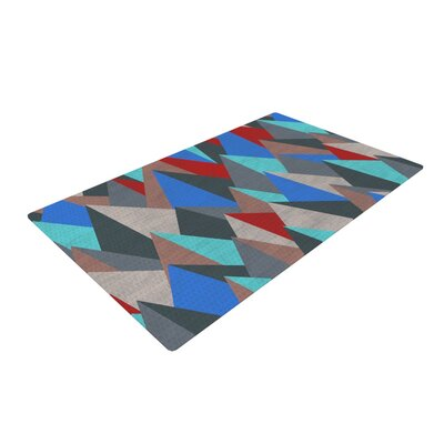 Michelle Drew Mountain Peaks II Blue/Red Area Rug Rug Size: 2 x 3