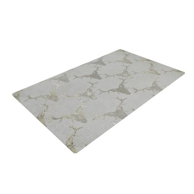 Michelle Drew Gilded Stags Gray Area Rug Rug Size: 4 x 6