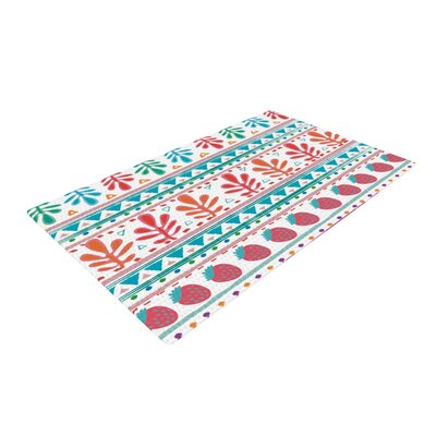 Nika Martinez Spring Strawberries Pink/White Area Rug Rug Size: 2 x 3