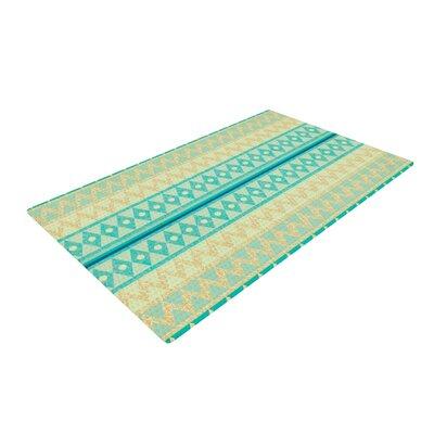 Nika Martinez Glitter Chevron Blue Area Rug Rug Size: 4 x 6
