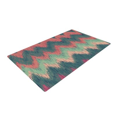 Nika Martinez Ikat Chevron Green/Orange Area Rug Rug Size: 2 x 3
