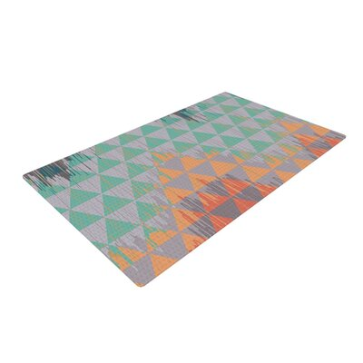 Nika Martinez Ikat Geometrie Green/Orange Area Rug Rug Size: 4 x 6