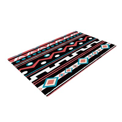 Nika Martinez Black Tipi Tribal Red Area Rug Rug Size: 4 x 6