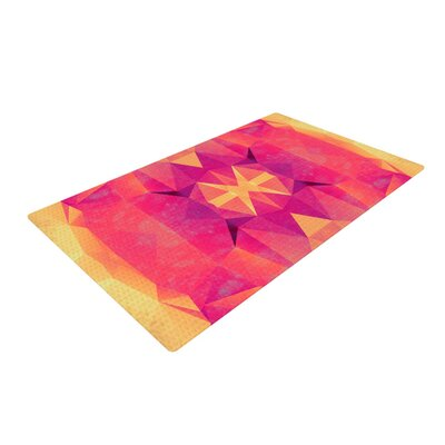 Nika Martinez Retro Pink Geometrie Pink/Yellow Area Rug Rug Size: 2 x 3