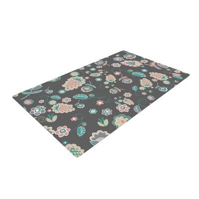 Nika Martinez Cute Winter Floral Gray/Pastel Area Rug Rug Size: 4 x 6