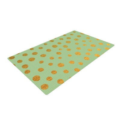Nika Martinez Golden Dots Green/Gold Area Rug Rug Size: 2 x 3