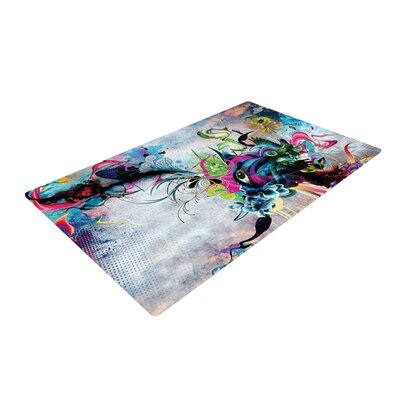 Mat Miller Streaming Eyes Abstract White/Blue Area Rug Rug Size: 2 x 3