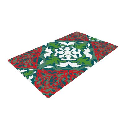 Miranda Mol Lace Flakes Green/Red Area Rug Rug Size: 4 x 6