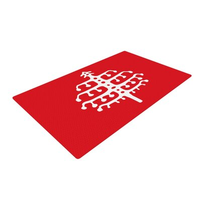 Miranda Mol Deco Tree Holiday Red Area Rug Rug Size: 2' x 3'