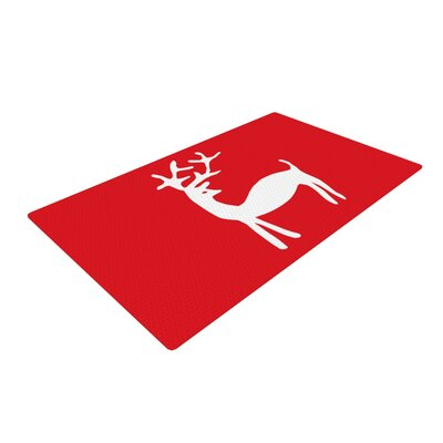 Miranda Mol Reindeer Holiday Red Area Rug Rug Size: 2' x 3'