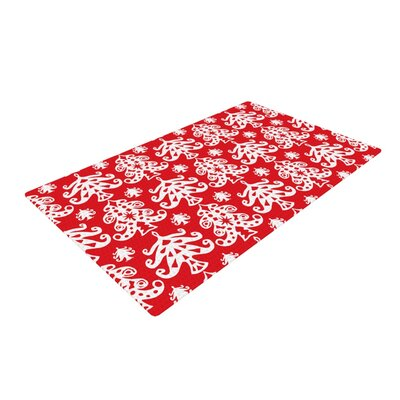 Miranda Mol Ornate Trees Holiday White/Red Area Rug Rug Size: 4' x 6'