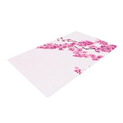 Monika Strigel Cherry Sakura Floral Pink Area Rug Rug Size: 2 x 3
